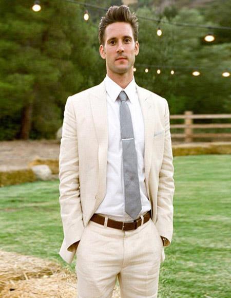 Linen Fabric Ivory Cream Off White Suit  2 Button Suit