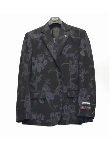 Paisley ~ Floral Suit Jacket And Pants Black