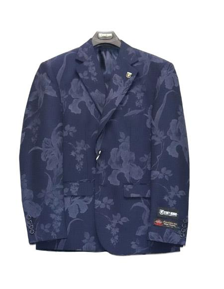 Paisley ~ Floral Suit Jacket And Pants Dark Navy