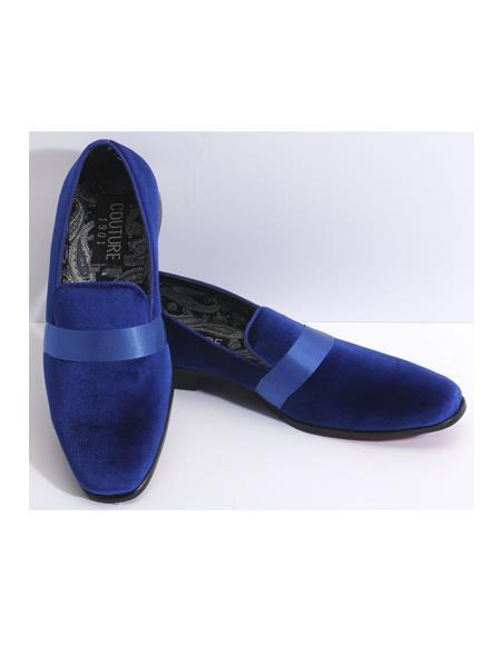 Mens Slip On Royal Blue Velvet Fabric Couture Tuxedo Shoe For Men Perfect for Wedding Ike Evening by Ike Behar Tuxedo Authentic Brand