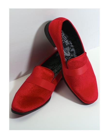 Men's Slip On Red Couture Tuxedo Velvet Fabric Shoe For Men Perfect for Wedding Ike Evening by Ike Behar Tuxedo Authentic Brand - Red Men's Prom Shoe