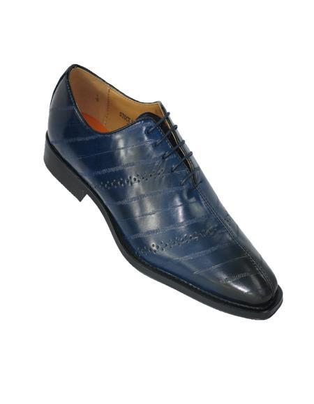 Mens Slip On Style Dress Shoe Navy Blue
