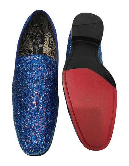 Mens Slip On Navy Blue Shiny Fashionable Loafer Glitter ~ Sparkly Shoes Sequin Shiny Flashy Look
