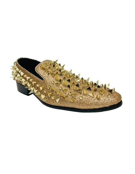 Men's Shoes Leather Men Stylish Dress Loafer Fashion Gold Shoes