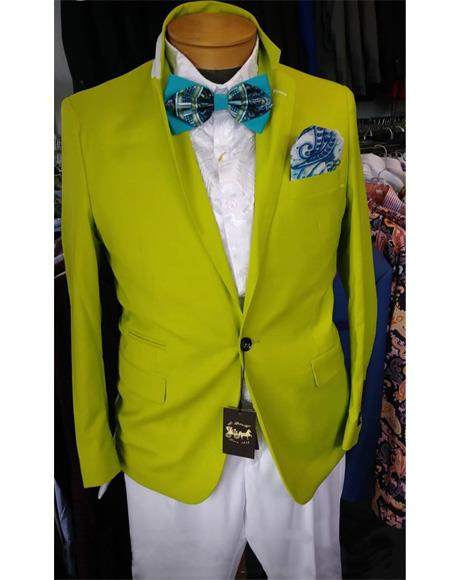 Men's Neon Green Blazer - Light Green Sport Coat