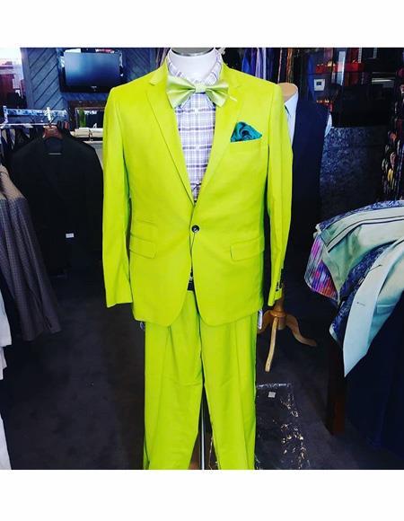 Men's Neon Green - Light Green / Light Green > Quality Suit Jacket + Pants