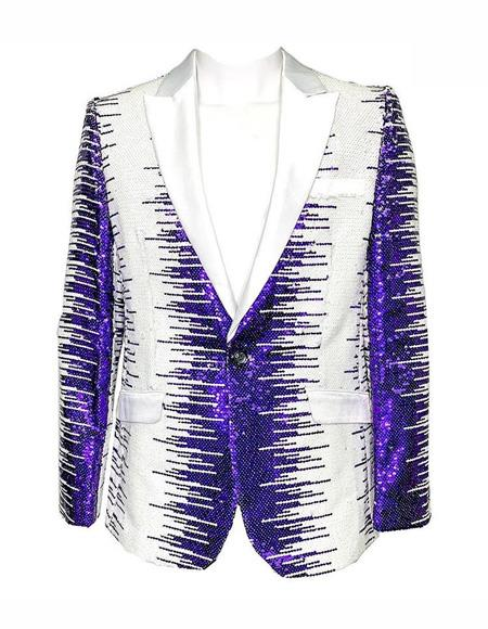 Mens  White and Purple Sequin Fashion Blazer