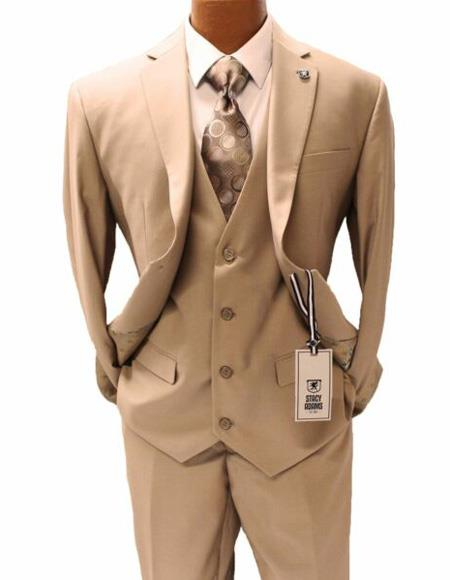 Mens Tan Notch Lapel Suit Two Button