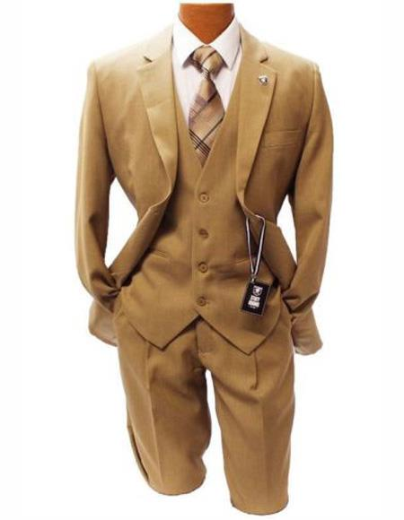 Men's Taupe Classic Fit Two Button Suit