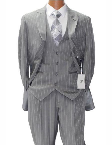 Men's Gray ~ White Two Button Suit Peak Lapel