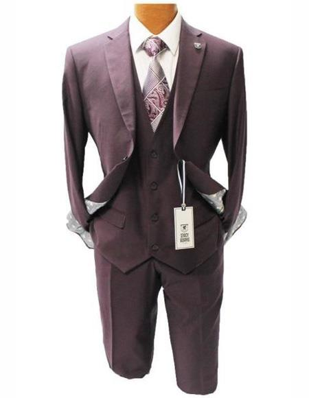 Mens Burgundy Suit Mordern Fit Two Button