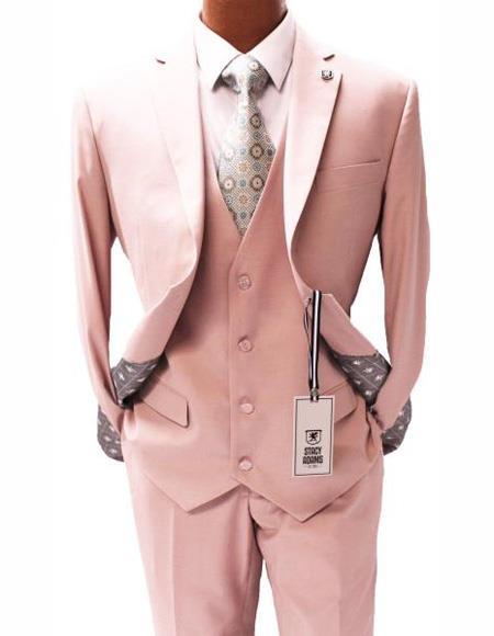 Men's Light Pink  Two Button Suit