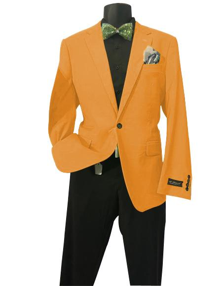Orange Men's Solid Sports Coats