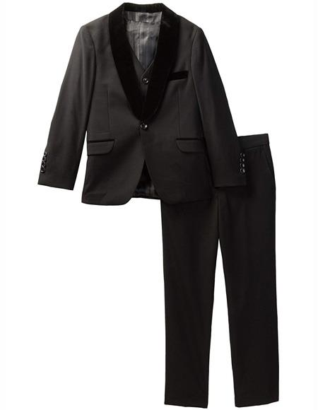 Mens and Boys Black Velvet Collar Kids Sizes Tuxedo Suit Perfect for  wedding  attire outfits - Toddler Suit
