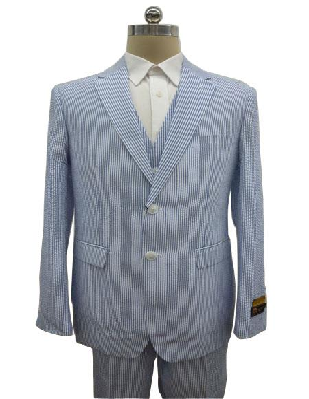 Mens Single Breasted Notch Label Blue Summer Seersucker Fabric Vested 3 Piece Suit