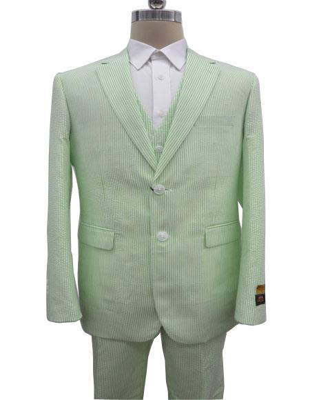 Mens Single Breasted Notch Label Green Colour Summer Seersucker Fabric Vested 3 Piece Suit
