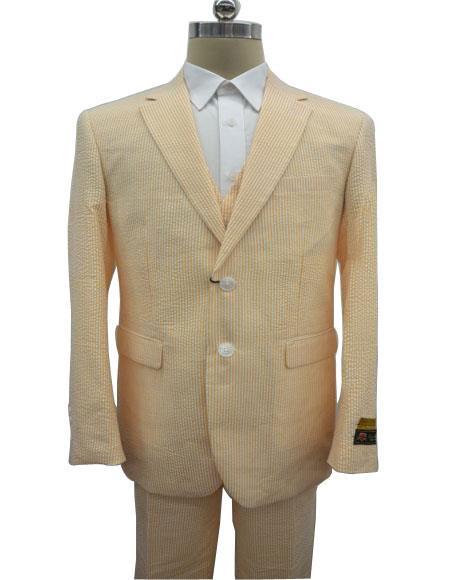 Men's  Notch Label Orange Colour Summer Seersucker Fabric Vested 3 Piece Suit