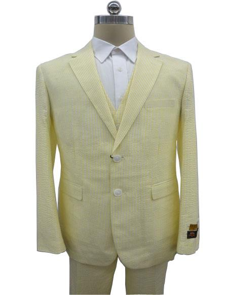 Men's  Notch Label Yellow Colour Summer Seersucker Fabric Vested 3 Piece Suit