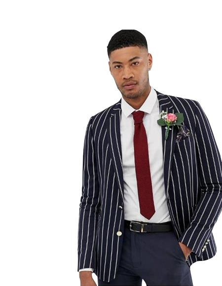 Men's Slim Fit Blazer Two Gold Button