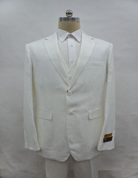 Linen-2BV White Suit