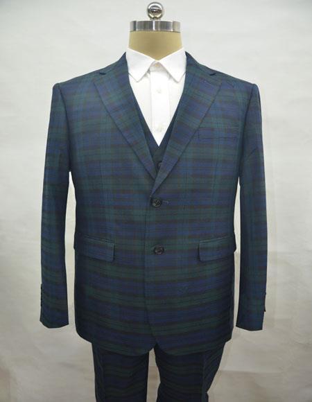 PLAID-235 Green Suit