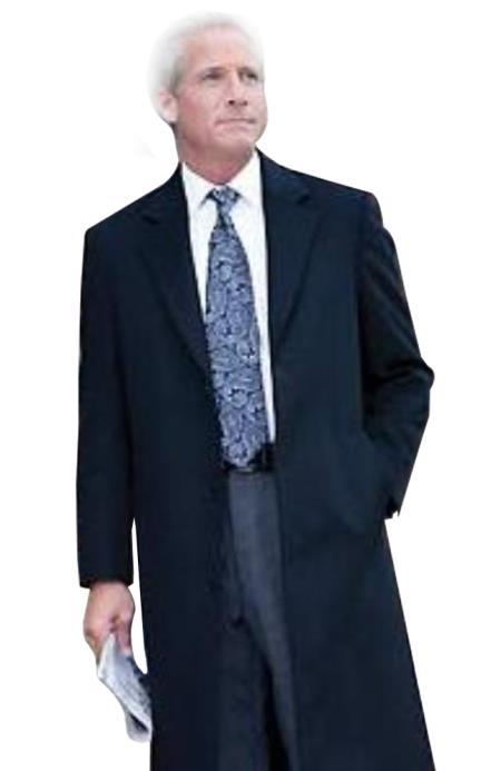38 inch Three-button notched lapel navy blue wool-Three quarter (36 Overcoat) vent 3 butto