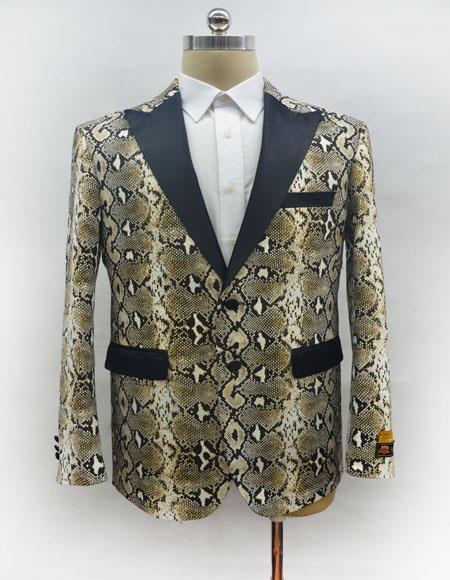 Men's Fashion Snake Skin Ostrich looking Jacket