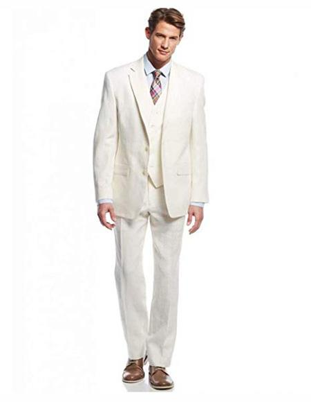 Offf White ~ Ivory ~ Cream White Linen Suit for Men Casual Wedding Suit 3 Pieces Jacket Blazer Groom