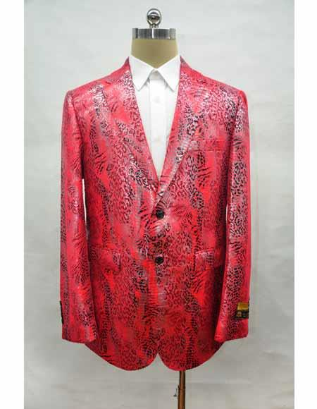 Men's Red Cuff Link Leather Printed Fabric Suit