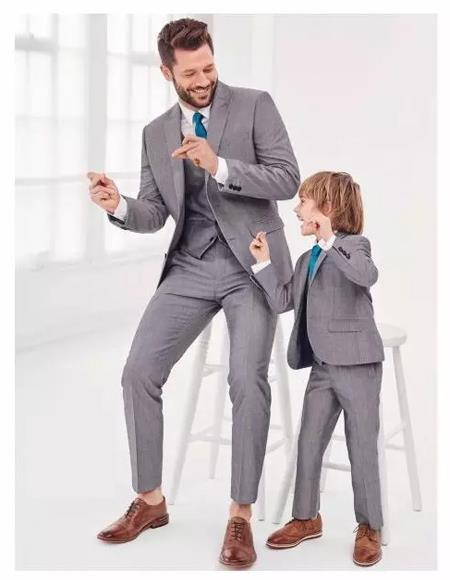 Father ~ Dad And Son Matching Kids Sizes Suit Perfect for toddler wedding  attire outfits Light Grey