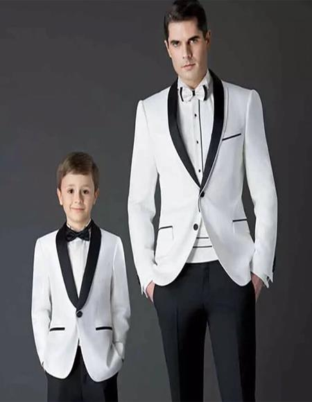Father ~ Dad And Son Matching Kids Sizes Suit Perfect For boys wedding outfits Black And White