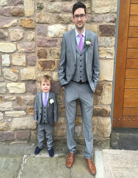 Dad And Son Gray Two Button Single Breasted Wedding Outfit Suits