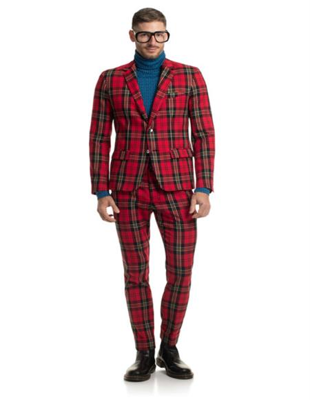 Checkered pattern one chest pocket red tartan  suit mens
