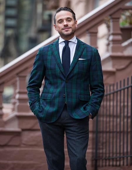 Mens Green and Blue Tartan Plaid Window Pane Checkered Suit With Matching Vest