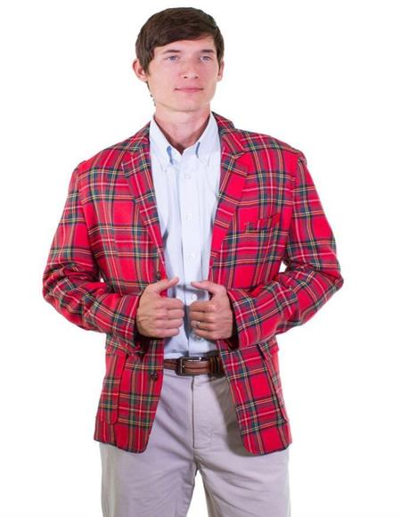 Mens Red Tartan ~ Plaid ~ Windowpane Cheap Priced Designer Fashion Dress Casual Blazer On Sale Mens Tartan Blazer Sport Coat Jacket