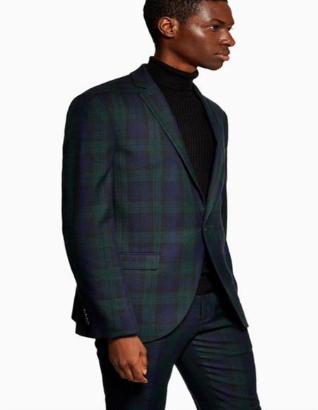 Crisscross design one chest pocket 2 button olive green suit mens