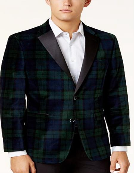 Mens Tartan Plaid Window Pane Suit Olive Green And Blue Mixed Comes With Matching Vest