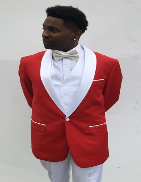 Mens  Shawl Label Red and White Suit