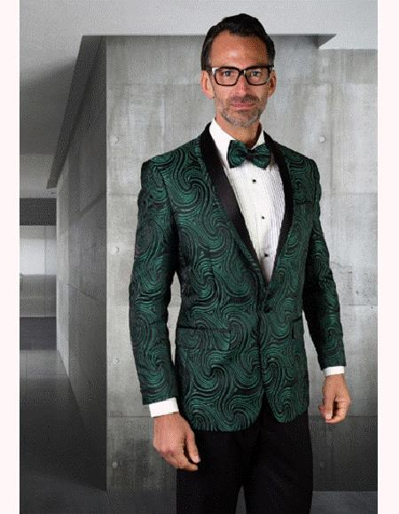 Mens Paisley Olive Green Tuxedo And Bow Tie