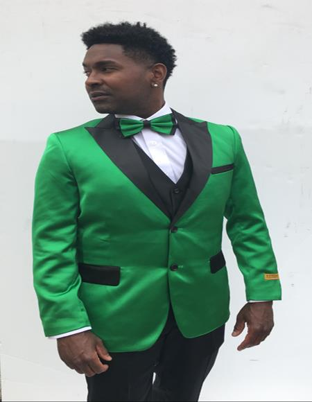 Men's  Peak Label Green and Black Suit