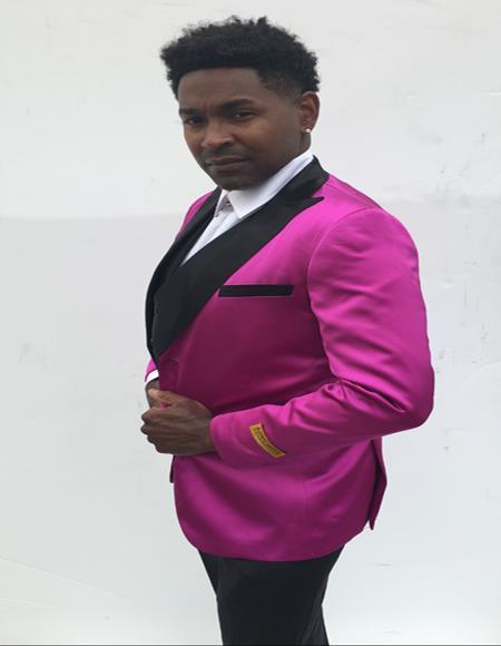 Mens Single Breasted Peak Label Pink and Black Suit