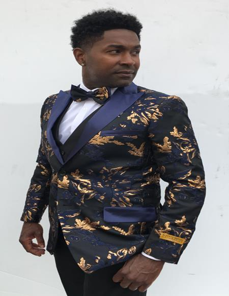 Men's  Peak Label Blue and Gold Suit