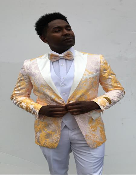 Mens  Peak Label Yellow and White Suit
