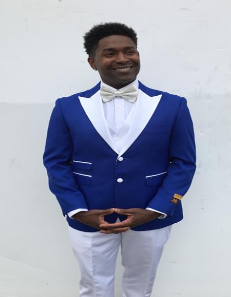 Mens  Peak Label Blue and White Suit