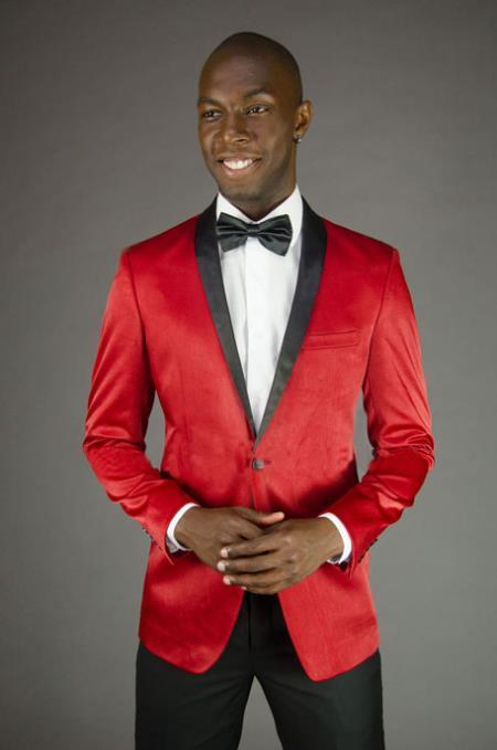 Black and Red Dress Men's suit Comes with Black Pants Black Lapel Jacket and Pants