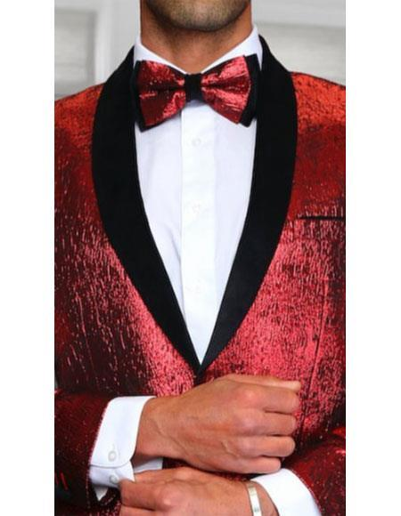 Mens Red and Black Paisley One Button Sequin Blazer