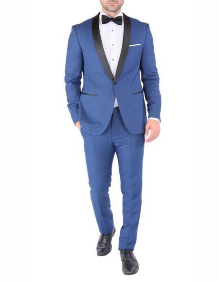 Mens Single Breasted Shawl Lapel Fabric Royal Blue ~ Indigo ~ Bright Blue ~ Saphire Light Navy Tuxedo