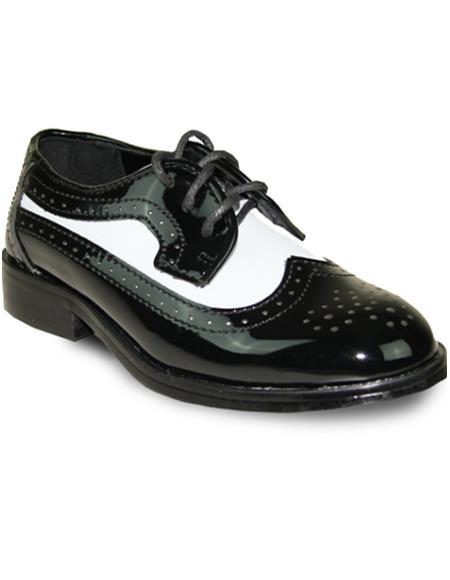 Men Dress Oxford Shoe For Men Perfect for Wedding Formal Tuxedo  Black / White Patent Two Tone - Men's Shiny Shoe