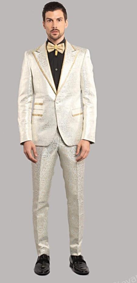 Giovanni Testi Blue Tuxedo Suit Jacket And Pants