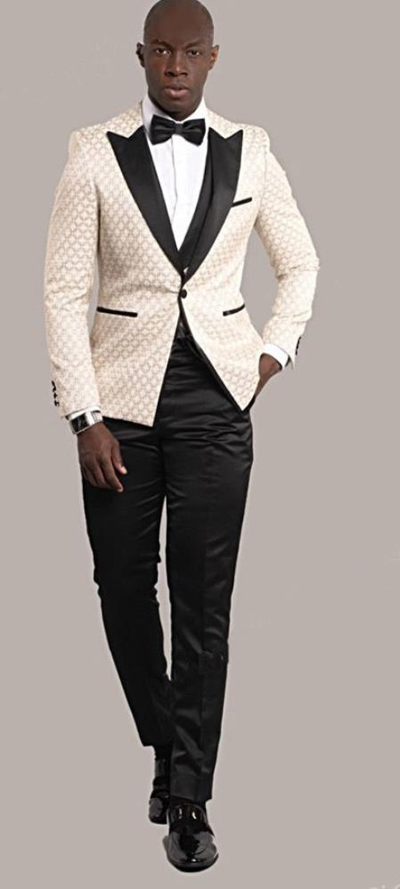 Giovanni Testi Ivory Tuxedo Suit Jacket And Pants